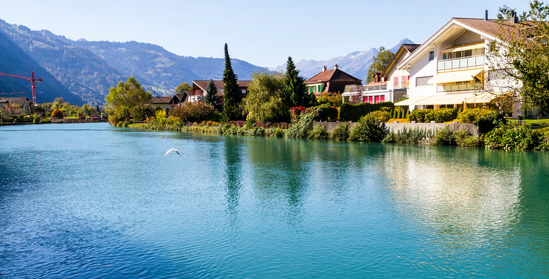 Interlaken: Shot from the town of Interlaken.  The color of the water was just beautiful.