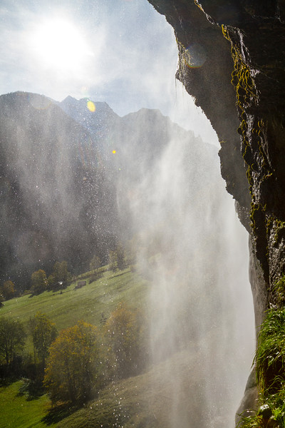 Lauterbrunnen Valley:  The waterfall actually had a path to get behind it...pretty neat!