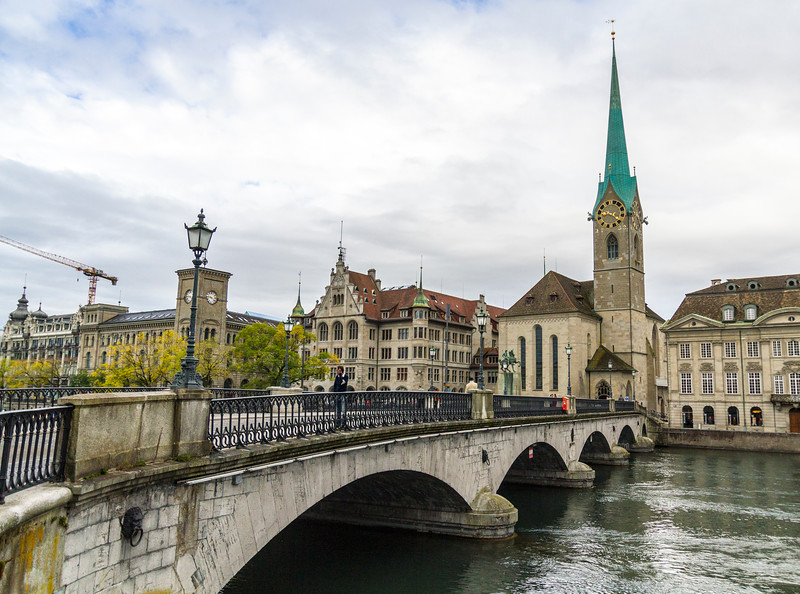 Zurich: Cool bridge and church.
