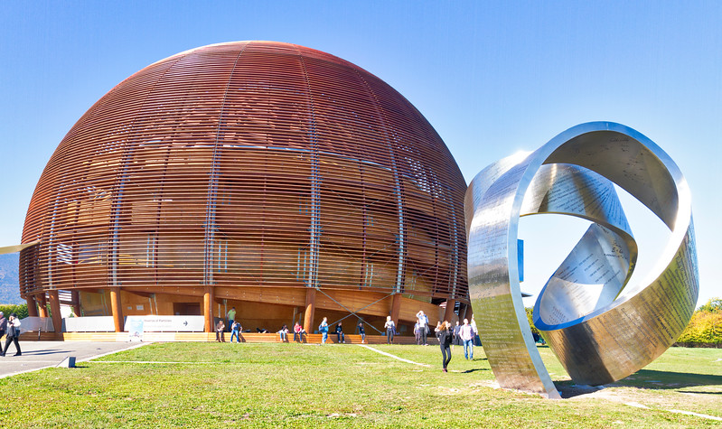 CERN: CERN stuff.  The metal sculture is pretty cool - lots of Physics stuff all over it.