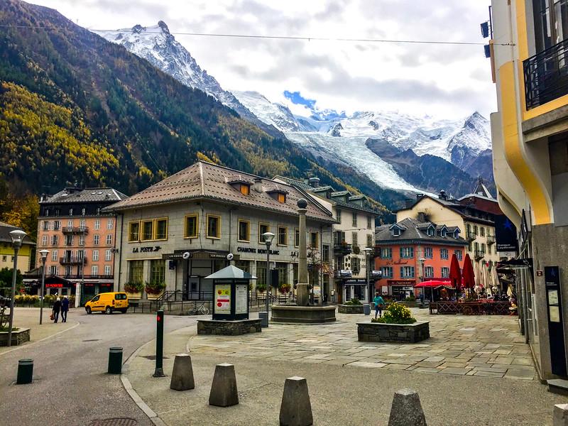Chamonix: The town of Chamonix is dwarfed by Mont Blanc above it.