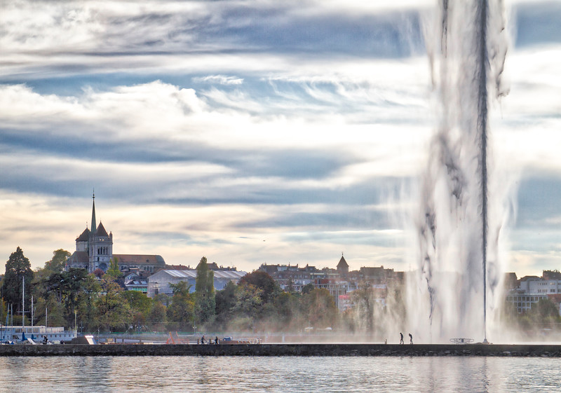 Geneva: The skyline of Geneva is dominated by the Jet d'Eau.  This fountain throws water up in the air 140m (460 ft).  It's seriously impressive and very difficult to photograph because it's tough to understand the immense scale of the jet.