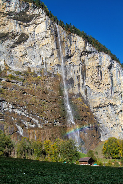 Lauterbrunnen Valley:  Nice waterfall coming down the cliff.