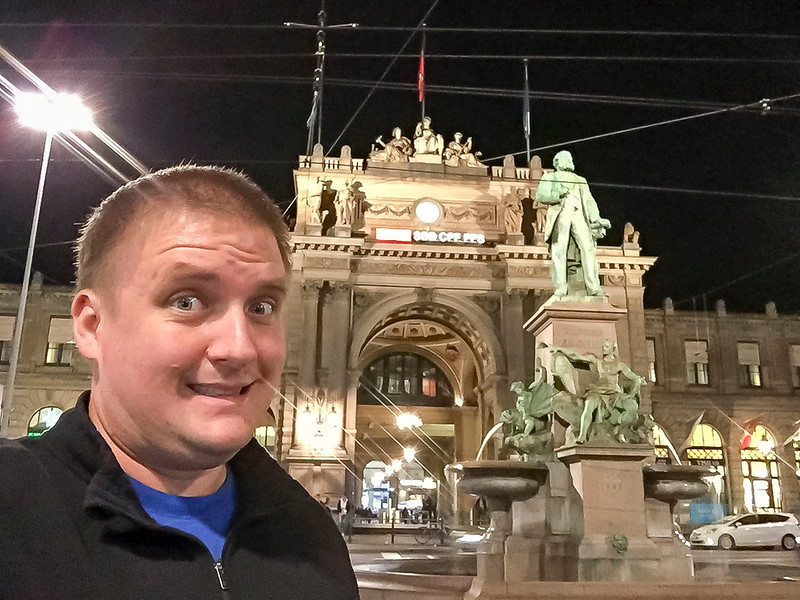 Zurich: Arrival to Zurich, had to take a fun selfie in front of the train stations.  I saw many train stations during the trip!