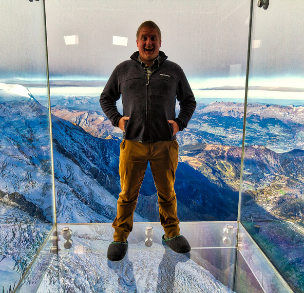 Aiguille du midi: Upon reaching the town fo Chamonix, I took a cablecar to Aiguille du midi - a mountain next to Mont Blanc.  They allowed me to stand in a glass box with a long drop below.