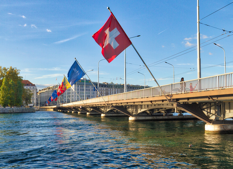 Geneva: Bridge with flags.