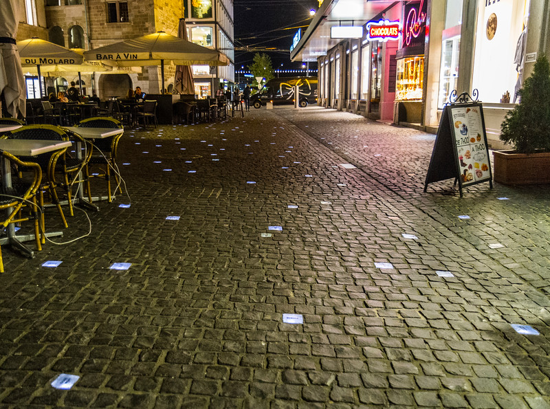 CERN: The streets included lit up cobblestones.  It made for a neat view at night.