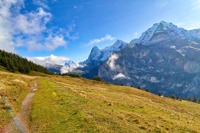 Mürren: The three big peaks that dominated the skyline were (from left to right) Mt. Eiger, Mt. Mönch, and Mt. Jungfrau