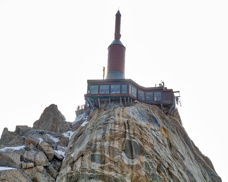 Aiguille du midi: The building looks like a Bond villain's hideout, much like the last mountain I visited. Remember the glass box I was standing in a few pictures ago...you can see it on the right side.