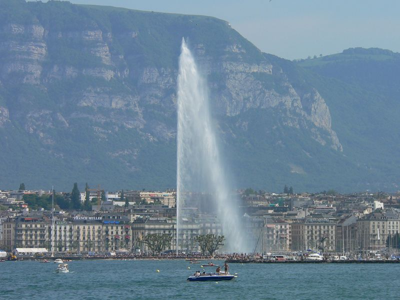 Geneva's Jet d'Eau fountain, 140 meters high