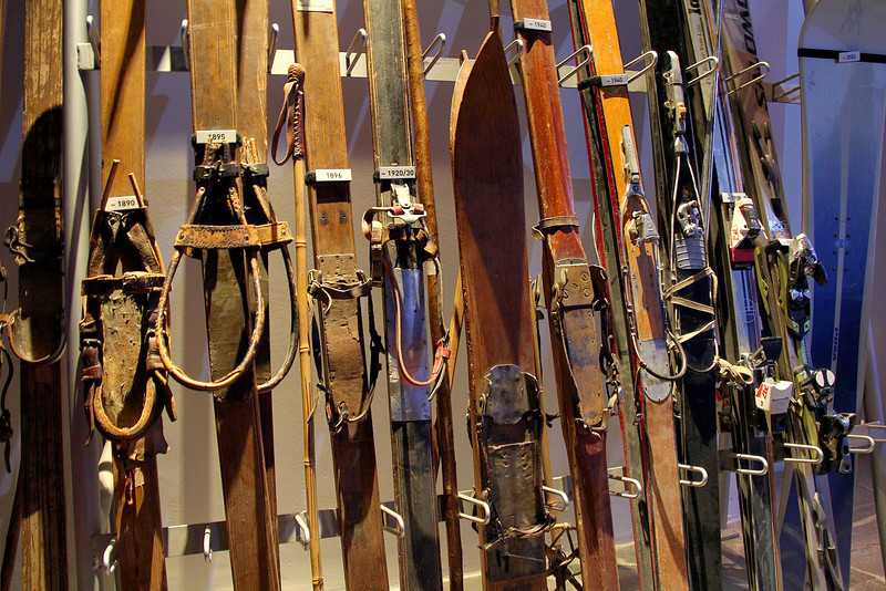 A progression of skis from very old to new in the Matterhorn Alpine Museum in Zermatt.