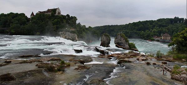 Panorama of Rhine Falls, one of the largest in Europe in terms of waterflow. This is in Switzerland near the border of Germany and the Black Forest region.