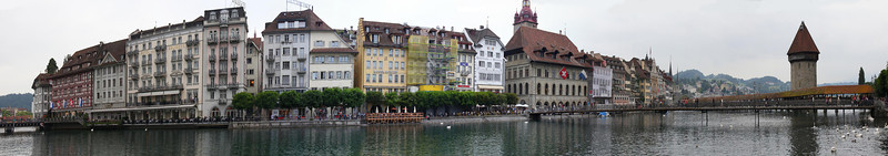 Downtown Lucerne and the River taken from in front of the Jesuit Church. Field of view is approx 180 degrees. June 3, 2011.