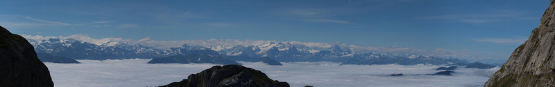 The first panorama I took at Mt. Pilatus using seven images. With no tripod and handheld, I clicked rapid fire shots from left to right. I was so excited that I let the horizon creep down.