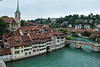 Bern, Switzerland. The stone arched bridge at the right spans the River Aare and is called the Lower Gate Bridge. It was the city's only bridge over the river for nearly 400 years and was completed in 1489 A.D.
