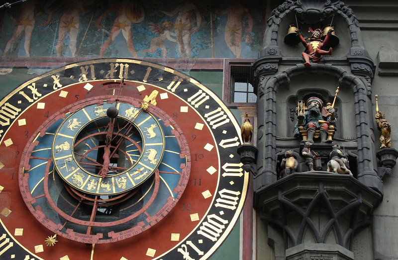 One of the 3 oldest public clocks in Switzerland, this is the large and famous Zyglogge Clock in downtown Bern, Switzerland. built in 1120 A.D., it is animated, and rings a time bell every hour. In the 1300's this tower was a prison strictly for women convicted of having intimate relations with clerics. Must have been a major problem!