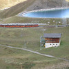 Jungfraubahn - this is one of the trains climbing out of the station and past a small lake or water reservoir.