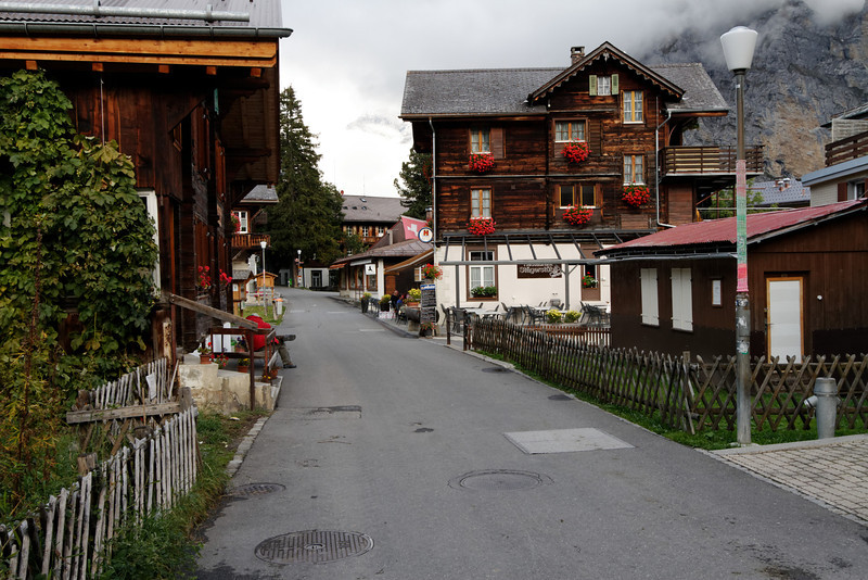 """Mürren - another view of the main street.  This was taken in the late afternoon on a somewhat """"chilly"""" day, so there were no pedestrians at all."""