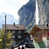 Lauterbrunnen - this shows Staubbach Falls.  With a drop of about 1000 feet, this waterfall is one of the highest in Europe.  Water flows into the Lütschine River.