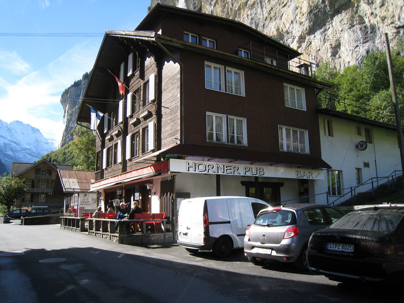 "Lauterbrunnen - this is the Horner Pub, which is where Base Jumpers from all over Europe (and elsewhere) congregate.  As Cable Cars are readily available, they're able to do two or three jumps a day.  All have Cameras mounted on their Helmets, and download the videos on Laptops and then compare notes while having a ""cool one"".  The Pub also operates a Hotel across the street."