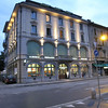Switzerland / Lugano - this is the exterior of Albergo Pestalozzi where I stayed.  It was in a convenient location for walking to most sites.