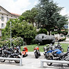 Switzerland / Lugano - this is one of the small communities that I passed while on the boat tour.  I thought the contrast between the large head and the motorcycles was an interesting picture.