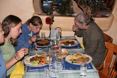 Dinner - rosti, schnitzel, salmon salad...