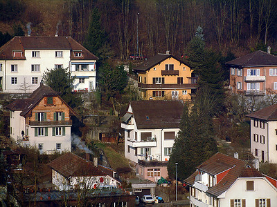 Swiss homes from train