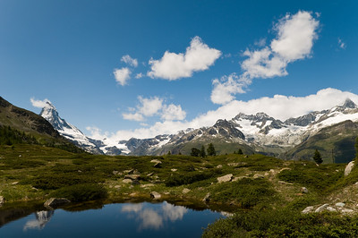 a view from one of the lakes on our hike in Zermatt