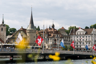 View of old town Lucerne alongside the River Ruess