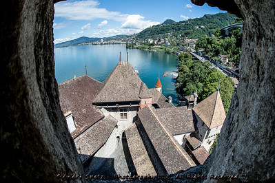 Montreux -Lac Leman (Geneva Lake) seen from the Chillon Castle
