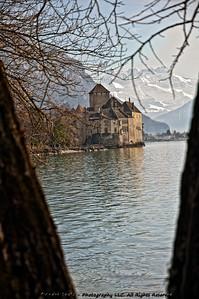 """Le Chateau de Chillon and """"Les Dents du Midi"""" mountains"""