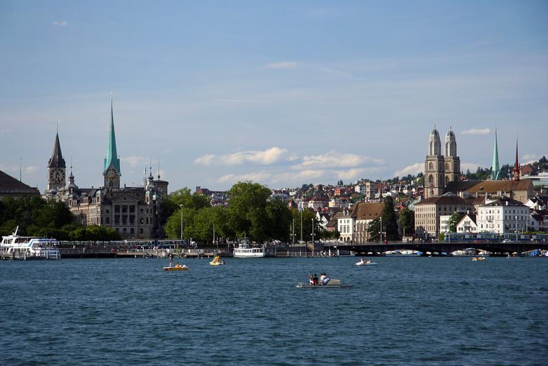 Zurich city, as we cruise in to dock at Burkliplatz.