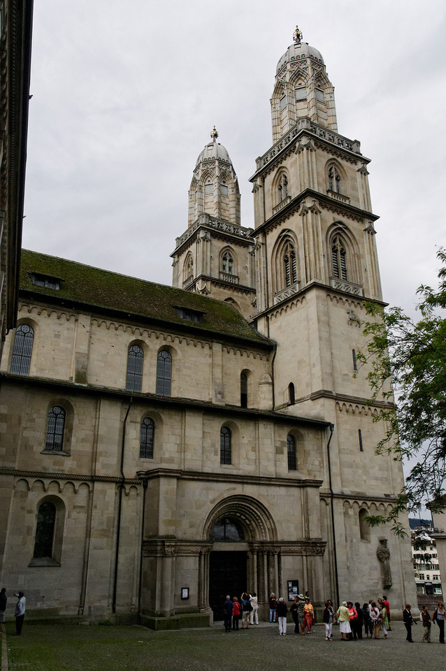 "The Grossmünster (""great minster"") is a Romanesque-style church in Zurich, Switzerland"