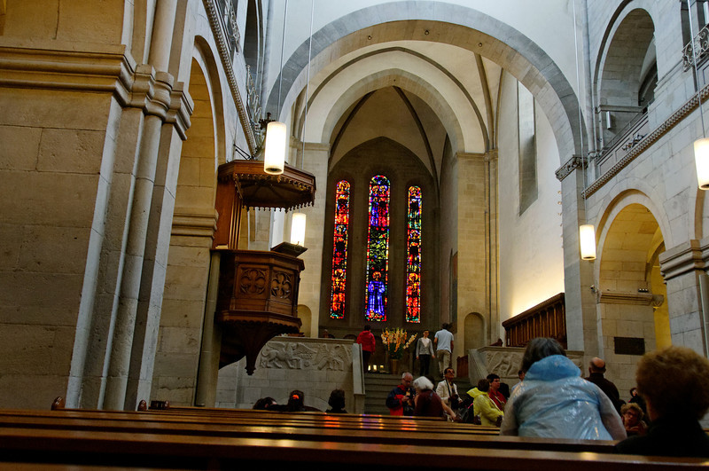 Stained Glass from inside the church by Swiss artist Augusto Giacometti added in 1932.<br /> Grossmünster, Zurich, Switzerland