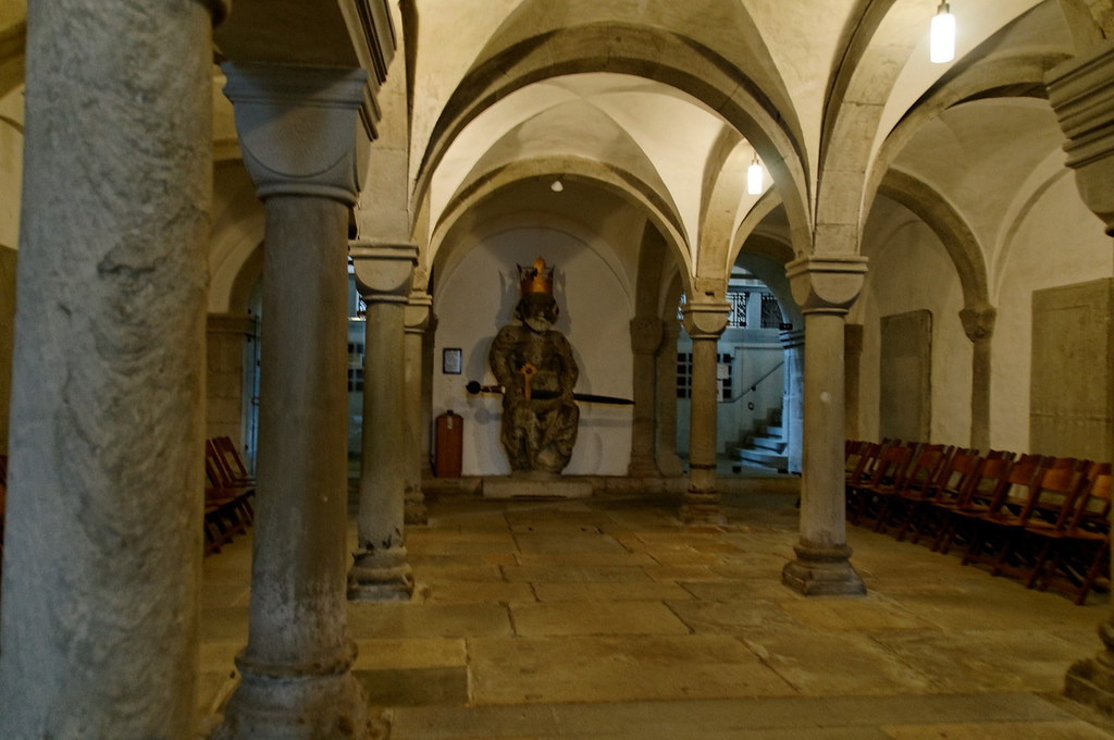 Crypt with original Charlemagne statue (15tch century)<br /> Grossmünster, Zurich, Switzerland