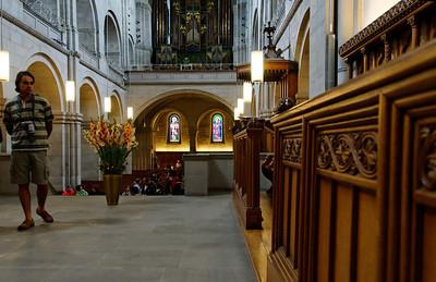 "The Grossmünster (""great minster"") is a Romanesque-style church in Zurich, Switzerland"