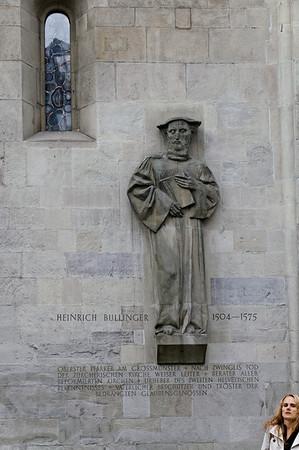 Statuary relief of Heinrich Bullinger on the southern exterior wall Grossmünster, Zurich, Switzerland