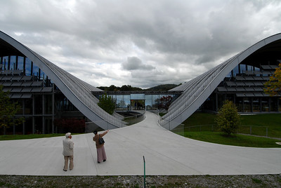Image of Paul Klee Centre, Bern, Switzerland, with woman pointing to the entrance.