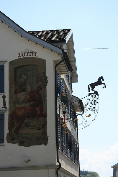 Hotel facade and sign in Flawil.