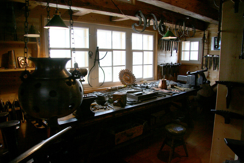 A blacksmith's shop recreation in the museum.