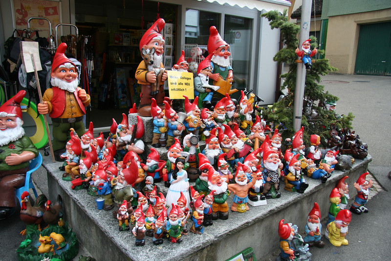 Large gnome selection outside the toy store. If you have a garden, it needs a gnome, and that gnome needs friends.