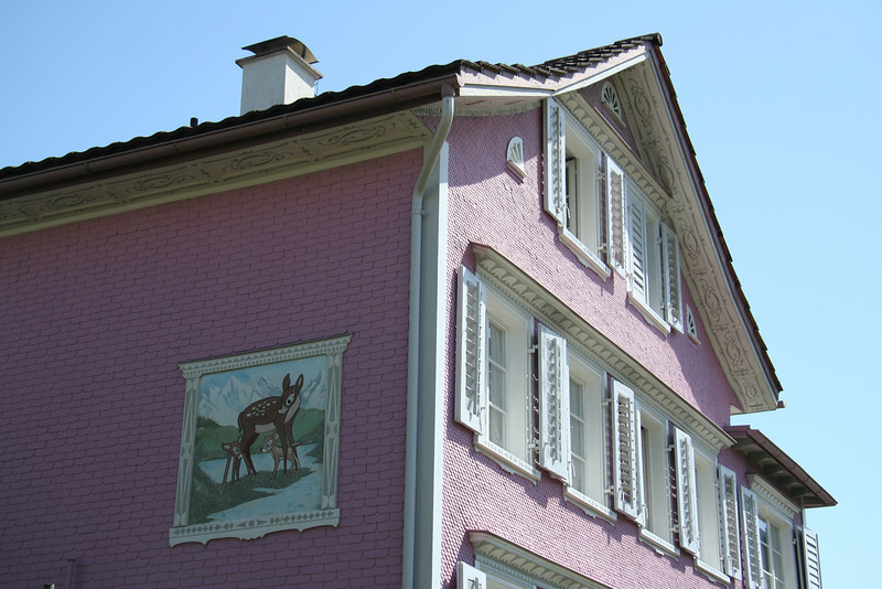 Cute pink house in the town of Flawil, with, yes, it appears to be Bambi on the side.