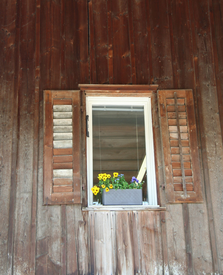 Window in the side of a barn. Everyone in Switzerland loves flowers, and there's a flower shop even in the smallest alpine town.