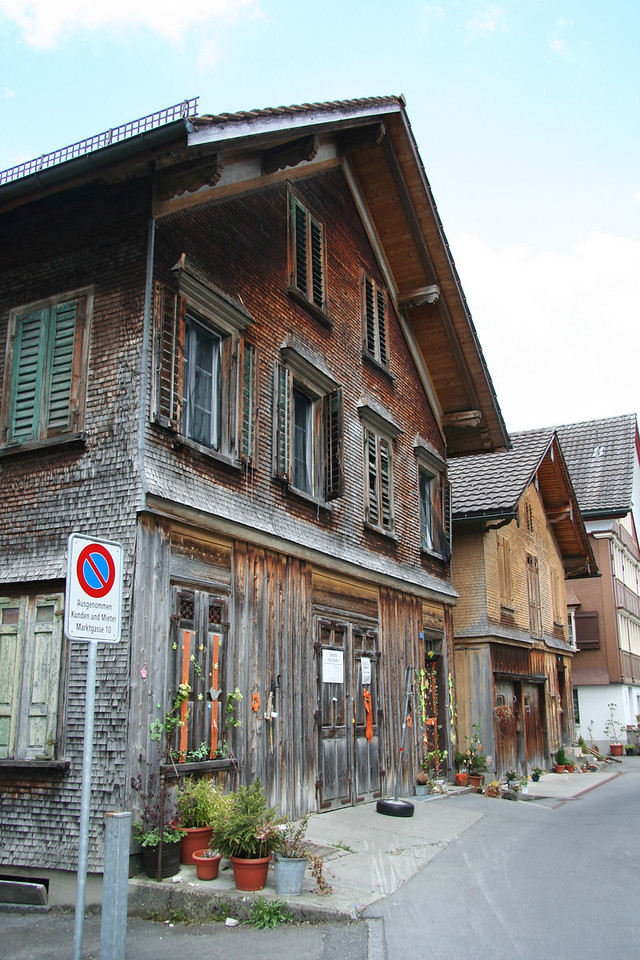 Old wood shingled houses.