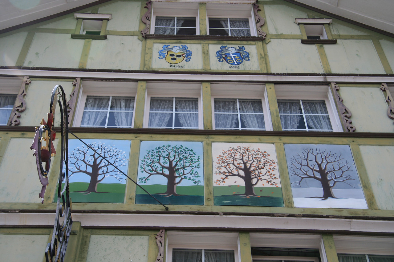 Every house is decorated in the old town of Appenzell.