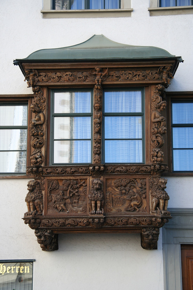 These ornately carved balconies that jut out from the houses were very popular in St. Gallen for a while - so popular that some of them are actually fake and you can't access them from the inside of the house.