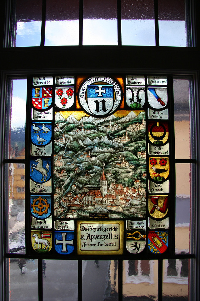 Stained glass inside the Appenzell museum.
