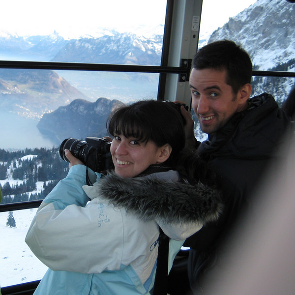 Michael and me on the big gondola, being photo nerds. Photo by the other nerd, Donal.