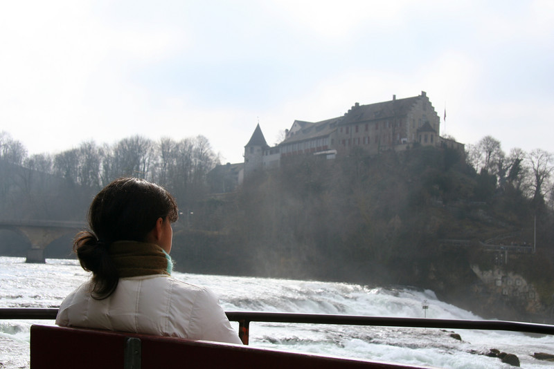 Ian's photo of Castle Laufen and me in Schaffhausen, at the Rheinfalls.